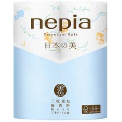 "Nepia Premium Soft : Туалетная бумага двухслойная с рисунком ""Золотые рыбки"", без аромата, 30м. (4 рулона)."