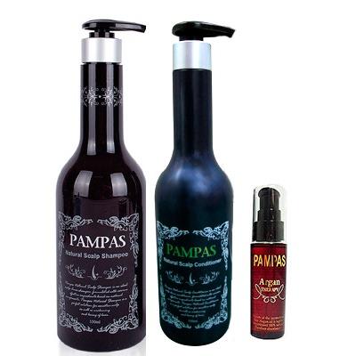 Pampas Акционный набор из трех товаров Pampas. Шампунь, Кондиционер + Масло Арганы в подарок.