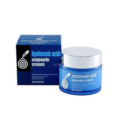 Zenzia Hyaluronic Acid Ampoule Cream : Крем для лица с гиалуроновой кислотой. 70 мл.