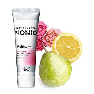 Lion Nonio : Профилактическая зубная паста для удаления неприятного запаха, отбеливания, очищения и предотвращения появления и развития кариеса. Аромат фруктов и мяты. 130 гр.