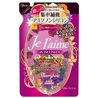 """Kose Cosmeport """"Je l'aime"""" : Шампунь с аминокислотами для повреждённых волос """"Экстраувлажнение"""", без силикона, с фруктовым ароматом, запасной блок, 400 мл."""