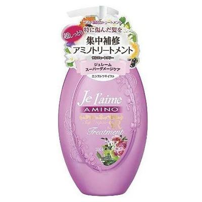 """Kose Cosmeport """"Je l'aime"""" : Тритмент с аминокислотами для повреждённых волос """"Экстраувлажнение"""", без силикона, с фруктовым ароматом, 500 мл."""