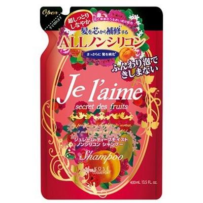 Kose Cosmeport «Je l'aime» : Тритмент для сухих и окрашенных волос «Глубокое увлажнение», с коллагеном и абрикосовым маслом, без силикона, с фруктово-цветочным ароматом, запасной блок, 400 мл.