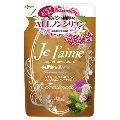"""Kose Cosmeport """"Je l'aime"""" : Тритмент для сухих волос с гиалуроновой кислотой """"Восстановление и увлажнение"""", без силикона, с ароматом белых цветов, запасной блок, 400 мл."""