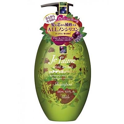 """Kose Cosmeport """"Je l'aime"""" : Шампунь для тусклых волос с гиалуроновой кислотой """"Блеск и восстановление"""", без силикона, с ароматом лесных трав, 500 мл."""
