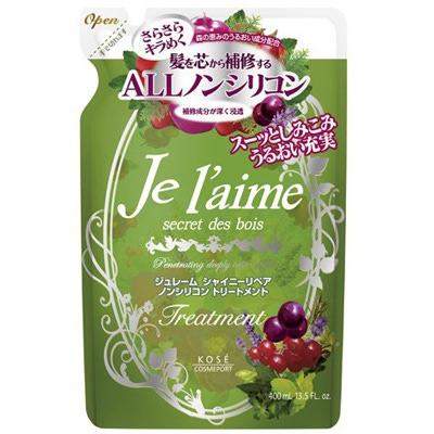 Kose Cosmeport «Je l'aime» : Тритмент для тусклых волос «Блеск и восстановление», с гиалуроновой кислотой, без силикона, с ароматом лесных трав, запасной блок, 400 мл.