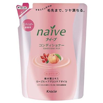 Kracie Naive : Бальзам-ополаскиватель восстанавливающий для сухих волос, с экстрактом персика и маслом шиповника (сменная упаковка). 400 мл.