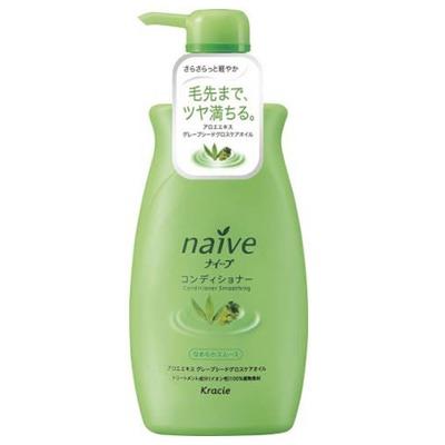 Kracie Naive : Бальзам-ополаскиватель для нормальных волос восстанавливающий - экстракт алоэ и масло виноградной косточки, 550 мл.