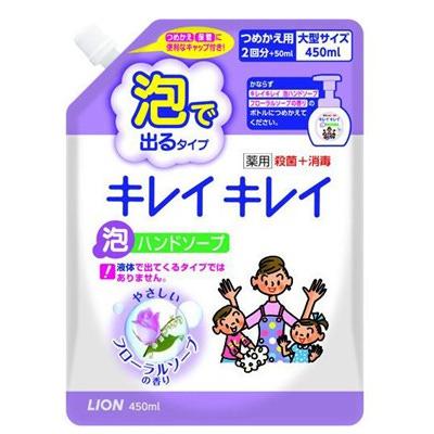 """Lion """"Kireikirei"""" : Жидкое мыло-пенка для рук для детей и взрослых с антибактериальным эффектом и ароматом цветов, сменная упаковка, 450 мл."""