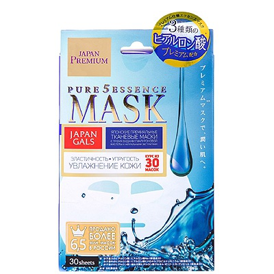 Japan Gals «Pure5 Essence Premium» : Маска для лица c тремя видами гиалуроновой кислоты, 30 шт.