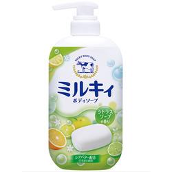 Cow Brand «Milky Body Soap» : Жидкое пенное мыло для тела c керамидами и молочными протеинами, с цитрусовым ароматом, 550 мл.