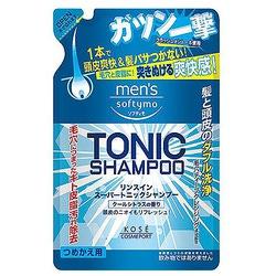 """Kose Cosmeport """"Men's Softymo"""" Мужской тонизирующий шампунь для волос, с цитрусовым ароматом, запасной блок, 400 мл."""