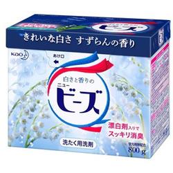 """Kao """"New Beads"""" : Стиральный порошок с кондиционирующим эффектом с ароматом майского ландыша, для белых, цветных и слабоокрашенных тканей, 800 гр."""
