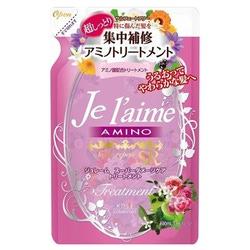 """Kose Cosmeport """"Je l'aime"""" : Тритмент с аминокислотами для повреждённых волос """"Экстраувлажнение"""", без силикона, с фруктовым ароматом, запасной блок, 400 мл."""