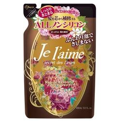 """Kose Cosmeport """"Je l'aime"""" : Шампунь для сухих волос с гиалуроновой кислотой """"Восстановление и увлажнение"""", без силикона, с ароматом белых цветов, запасной блок, 400 мл."""