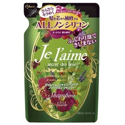 """Kose Cosmeport """"Je l'aime"""" : Шампунь для тусклых волос с гиалуроновой кислотой """"Блеск и восстановление"""", без силикона, с ароматом лесных трав, запасной блок, 400 мл."""