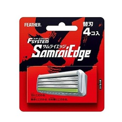 """Feather """"F-System Samurai Edge"""" : Запасные кассеты с тройным лезвием для станка, 4 шт."""