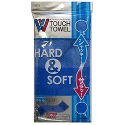 O:he Hard&Soft : Мочалка для тела двойной жесткости (жесткая/мягкая) голубая, 28 х 100 см