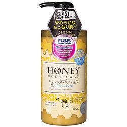 Daiichi «Funs Honey Milk» : Гель для душа увлажняющий с экстрактом мёда и молока, 500 мл.
